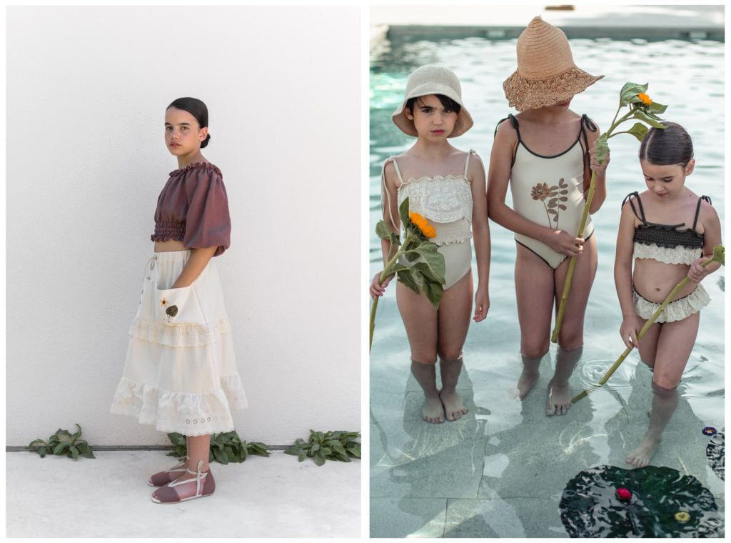belle chiara ss2021 Blouse SMOCKED Burgundy and Swimsuit HERBARIUM